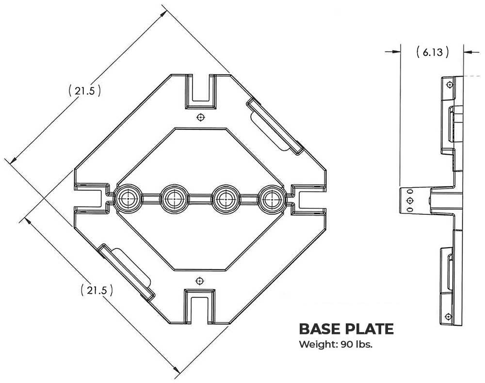 Steel Guardrail Base Plate with Rubber Pads only (Galvanized)