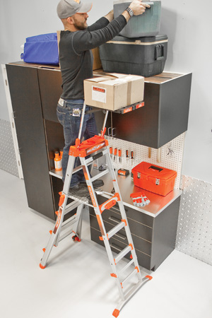 Adaptive Step Ladder with Workstation (Fiberglass)