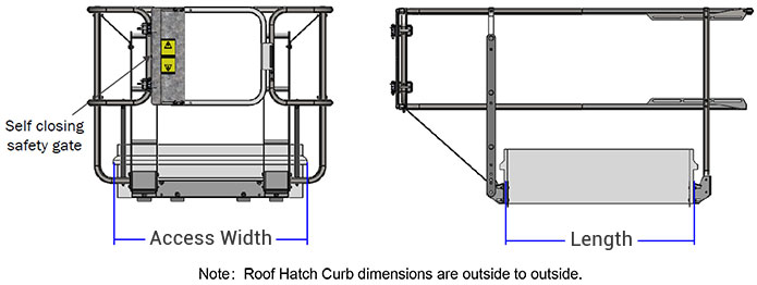 Roof Hatch Fixed Guardrail - Reference Dimensions