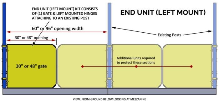 Pallet Rack Gate - Left Mount End Unit