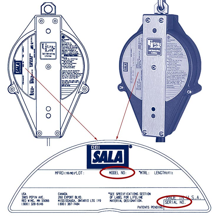 DBI-SALA® Self-retracting Lifeline Label - Serial & Model No.