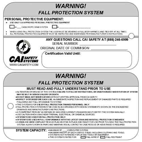 CAI Safety Systems - Warning Tags