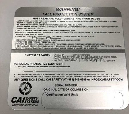 CAI Safety Systems – Warning Signs