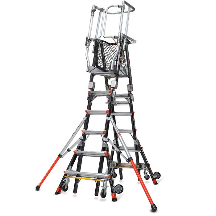 Compact Dual Ladder With Enclosed Work Platform Cai