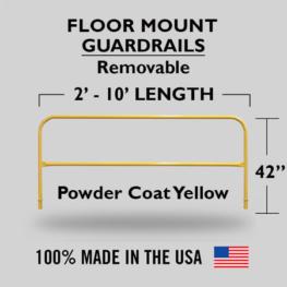 Fixed Mounted Railings - Powder Coated Safety Yellow