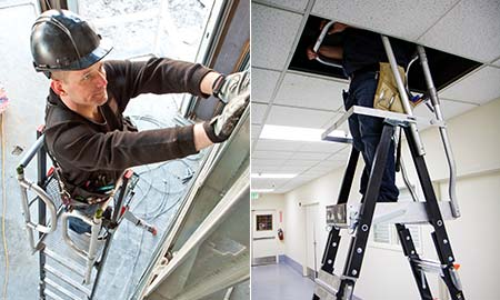 Compact Ladder with Enclosed Work Platform