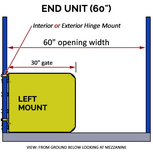 "Pallet Rack Gate - 60"" Left Mount End Unit"