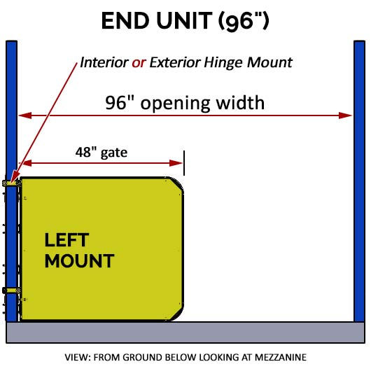 "Pallet Rack Gate - 96"" Left Mount End Unit"