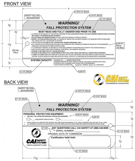 CAI Safety Systems – Warning Tags