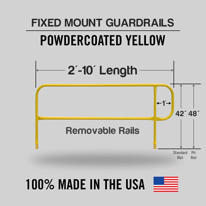Fixed Mounted Guardrails - Finishing Railings Powder Coated Safety Yellow