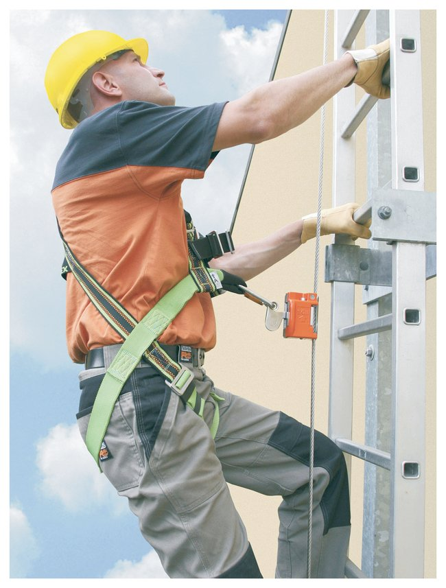 Ladder Cable Fall Arrest w/ Automatic Pass-Through Sleeve