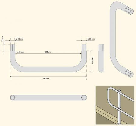 Aluminum Modular Guardrails - Finishing End Bracket