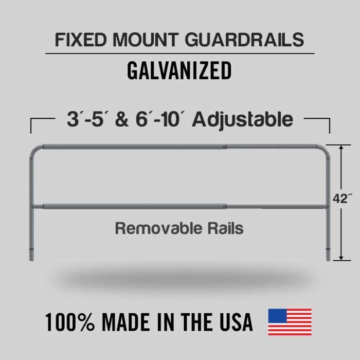 Fixed Mounted Adjustable Railings - Galvanized