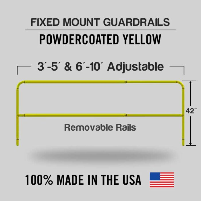 Fixed Mounted Adjustable Railings - Safety Yellow