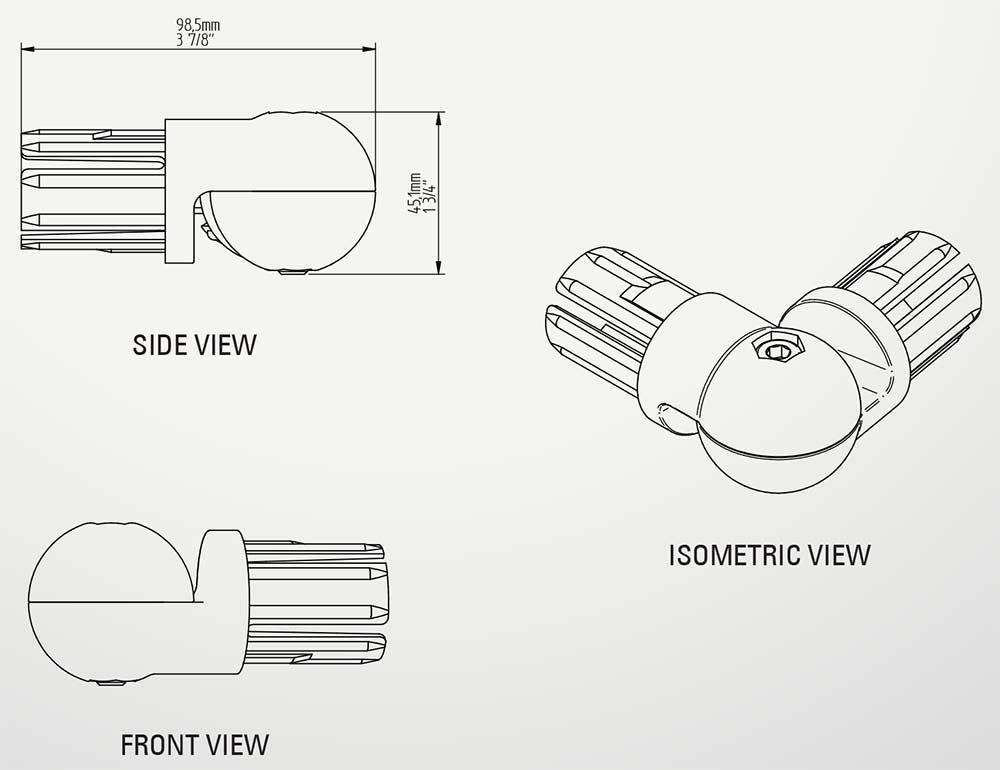 Aluminum Fixed Mounted Guardrails - Adjustable Corner Bracket