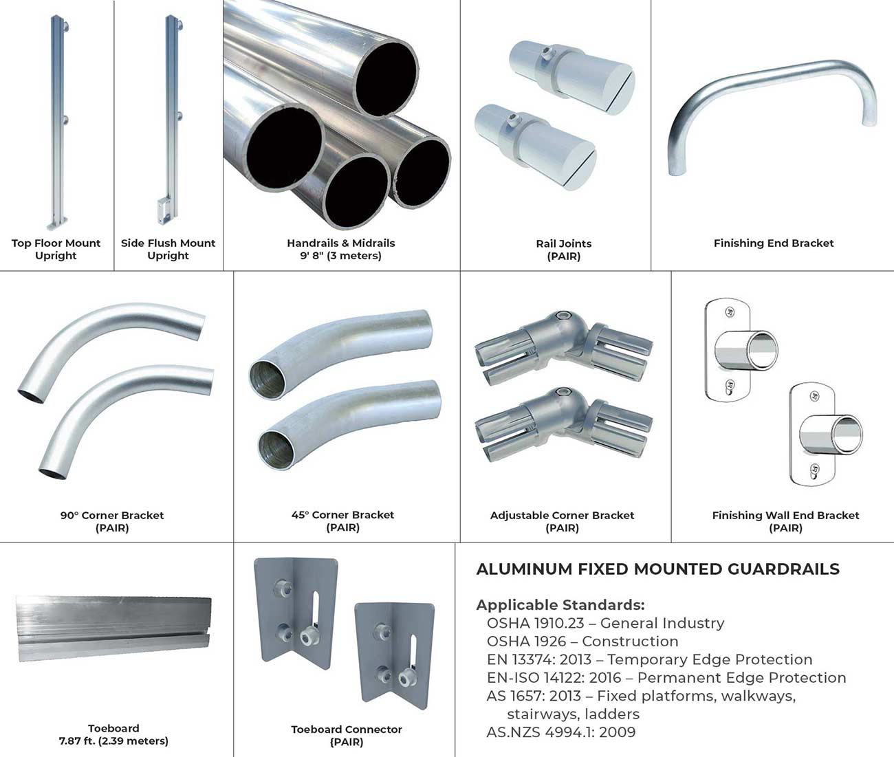 Aluminum Fixed Mounted Guardrails - Components & Parts