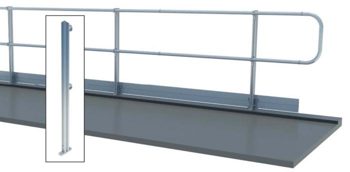 Aluminum Fixed Mounted Guardrails - Top Floor Mount