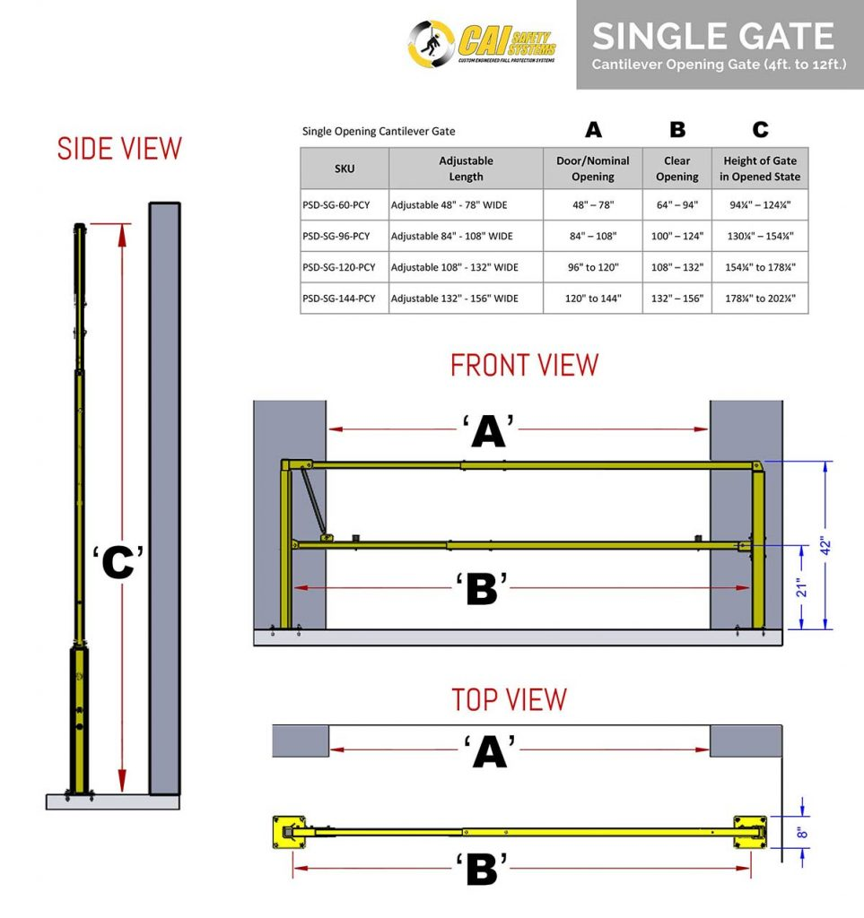 Single Opening Cantilever Gate - Dimension Reference Chart